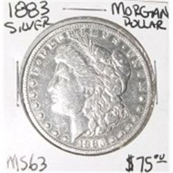 1883 MORGAN SILVER DOLLAR RED BOOK VALUE IS $75.00 *RARE MS-63 HIGH GRADE*!!