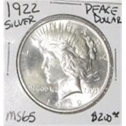 1922 PEACE SILVER DOLLAR RED BOOK VALUE IS $200.00 *EXTREMELY RARE MS-65 HIGH GRADE*!!