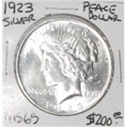 1923 PEACE SILVER DOLLAR RED BOOK VALUE IS $200.00 *EXTREMELY RARE MS-65 HIGH GRADE*!!