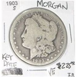 1903-S MORGAN SILVER DOLLAR RED BOOK VALUE IS $225.00 *RARE KEY DATE VERY FINE GRADE*!!