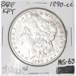 1890-CC CARSON CITY MORGAN SILVER DOLLAR RED BOOK VALUE IS $1200.00 *RARE MS-63 HIGH GRADE*!!