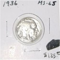1936 BUFFALO NICKEL RED BOOK VALUE IS $125.00 *EXTREMELY RARE MS-65 HIGH GRADE*!!