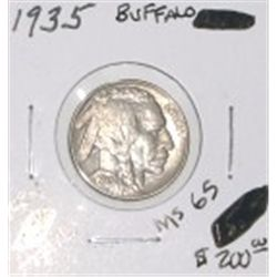 1935 BUFFALO NICKEL RED BOOK VALUE IS $200.00 *EXTREMELY RARE MS-65 HIGH GRADE HORN & TAIL*!!