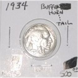 1934 BUFFALO NICKEL RED BOOK VALUE IS $500.00 *EXTREMELY RARE MS-65 HIGH GRADE HORN & TAIL*!!