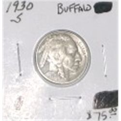 1930-S BUFFALO NICKEL RED BOOK VALUE IS $75.00 *EXTREMELY RARE MS-60 HIGH GRADE*!!