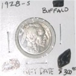 1928-S BUFFALO NICKEL RED BOOK VALUE IS $300.00 *EXTREMELY RARE KEY DATE MS-60 HIGH GRADE*!!