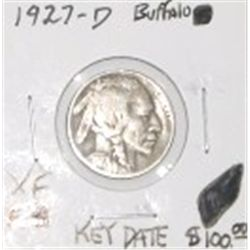 1927-D BUFFALO NICKEL RED BOOK VALUE IS $100.00 *RARE KEY DATE EXTRA FINE GRADE*!!
