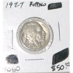 1927 BUFFALO NICKEL RED BOOK VALUE IS $50.00 *RARE MS-60 HIGH GRADE*!!