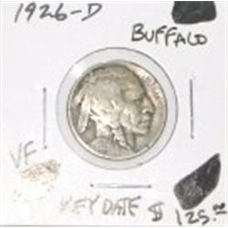 1926-D BUFFALO NICKEL RED BOOK VALUE IS $125.00 *EXTREMELY RARE KEY DATE VERY FINE GRADE* !!
