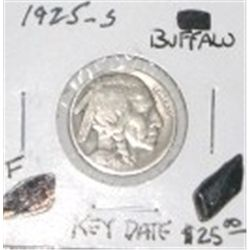 1925-S BUFFALO NICKEL RED BOOK VALUE IS $25.00 *RARE KEY DATE FINE GRADE*!!