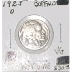 1925-D BUFFALO NICKEL RED BOOK VALUE IS $30.00 *EXTREMELY RARE KEY DATE VERY GOOD GRADE*!!