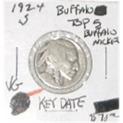 1924-S BUFFALO NICKEL RED BOOK VALUE IS $70.00 *EXTREMELY RARE KEY DATE VERY GOOD GRADE*!!