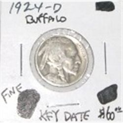 1924-D BUFFALO NICKEL RED BOOK VALUE IS $60.00 *EXTREMELY RARE KEY DATE FINE GRADE* !!