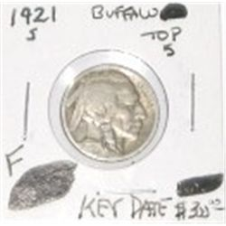 1921-S BUFFALO NICKEL *TOP 5 BUFFALO* RED BOOK VALUE IS $300.00 *EXTREMELY RARE KEY DATE FINE GRADE*