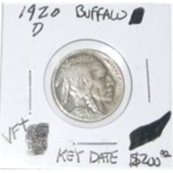 1920-D BUFFALO NICKEL RED BOOK VALUE IS $200.00 *EXTREMELY RARE KEY DATE VERY FINE+ GRADE* !!
