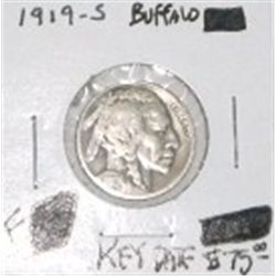 1919-S BUFFALO NICKEL RED BOOK VALUE IS $75.00 *RARE KEY DATE FINE GRADE*!!