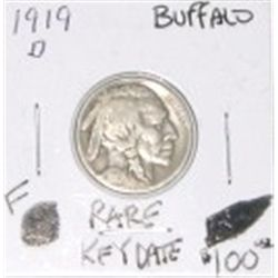 1919-D BUFFALO NICKEL RED BOOK VALUE IS $100.00 *RARE KEY DATE FINE GRADE* !!