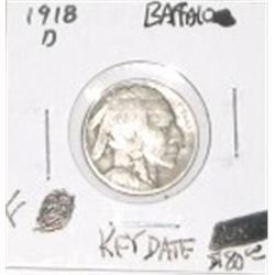 1918-D BUFFALO NICKEL RED BOOK VALUE IS $80.00 *RARE KEY DATE FINE GRADE* BUFFALO NICKEL OUT OF SAFE