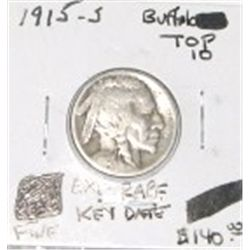 1915-S BUFFALO NICKEL *TOP 10* RED BOOK VALUE IS $140.00 *EXTREMELY RARE KEY DATE FINE GRADE*!!