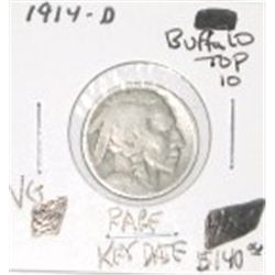1914-D BUFFALO NICKEL *TOP 10* RED BOOK VALUE IS $140.00 *EXTREMELY RARE KEY DATE VERY GOOD GRADE*!!