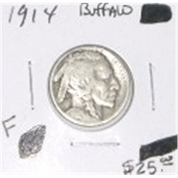 1914 BUFFALO NICKEL RED BOOK VALUE IS $25.00 RARE KEY DATE FINE GRADE BUFFALO NICKEL CAMEOUT OF SAFE