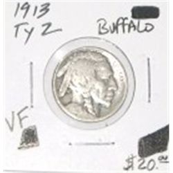 1913 TYPE 2 BUFFALO NICKEL RED BOOK VALUE IS $20.00 RARE VERY FINE GRADE* BUFFALO NICKEL OUT OF SAFE