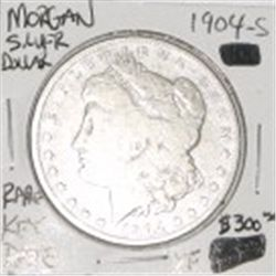 1904-S MORGAN SILVER DOLLAR RED BOOK VALUE IS $300.00 *EXTREMELY RARE KEY DATE EXTRA FINE GRADE*!!