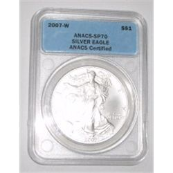 2007-W SILVER EAGLE 1oz *EXTREMELY RARE CERTIFIED SP-70 BY ANACS* SILVER EAGLE CAME OUT OF SAFE!!