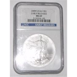 2008 SILVER EAGLE 1oz EARLY RELEASE *EXTREMELY RARE CERTIFIED MS-69 BY NGC* SILVER EAGLE OUT OF SAFE