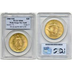 1908 NM $20  St Gauden PCGS MS66 Wells Fargo Nev Gold St. G