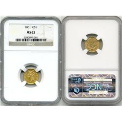 1861 G$1 NGC MS62 Gold Dollar Type3