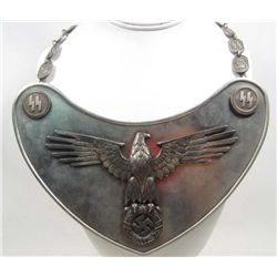 RARE GERMAN NAZI WAFFEN SS STANDARD FLAG BEARER GORGET W/ NECK CHAIN