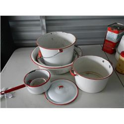 Red and White Enamelware Dishes