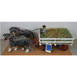 Model horse drawn wood wagon
