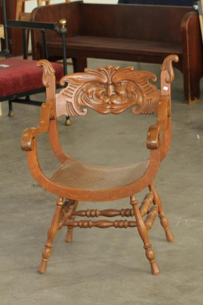 Image 2 : Antique Chair with Carved Face. - Antique Chair With Carved Face.
