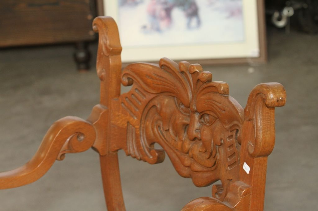 Image 3 : Antique Chair with Carved Face. - Antique Chair With Carved Face.