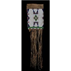 Sioux Beaded Bag with Geometric Design Made From Woman's Leggings ca. 1880's 26  L. 7  W.  Good Cond