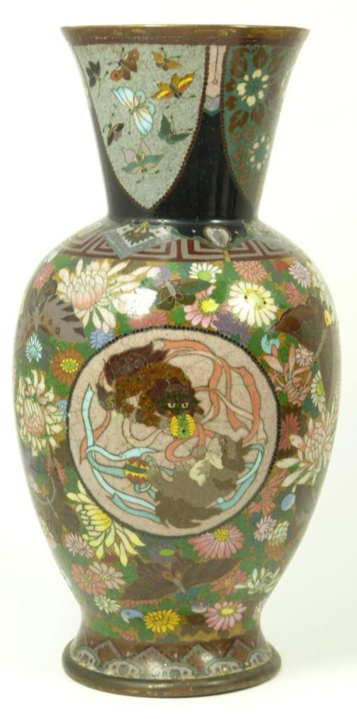 Antique Chinese Cloisonne Dragon Phoenix Vase