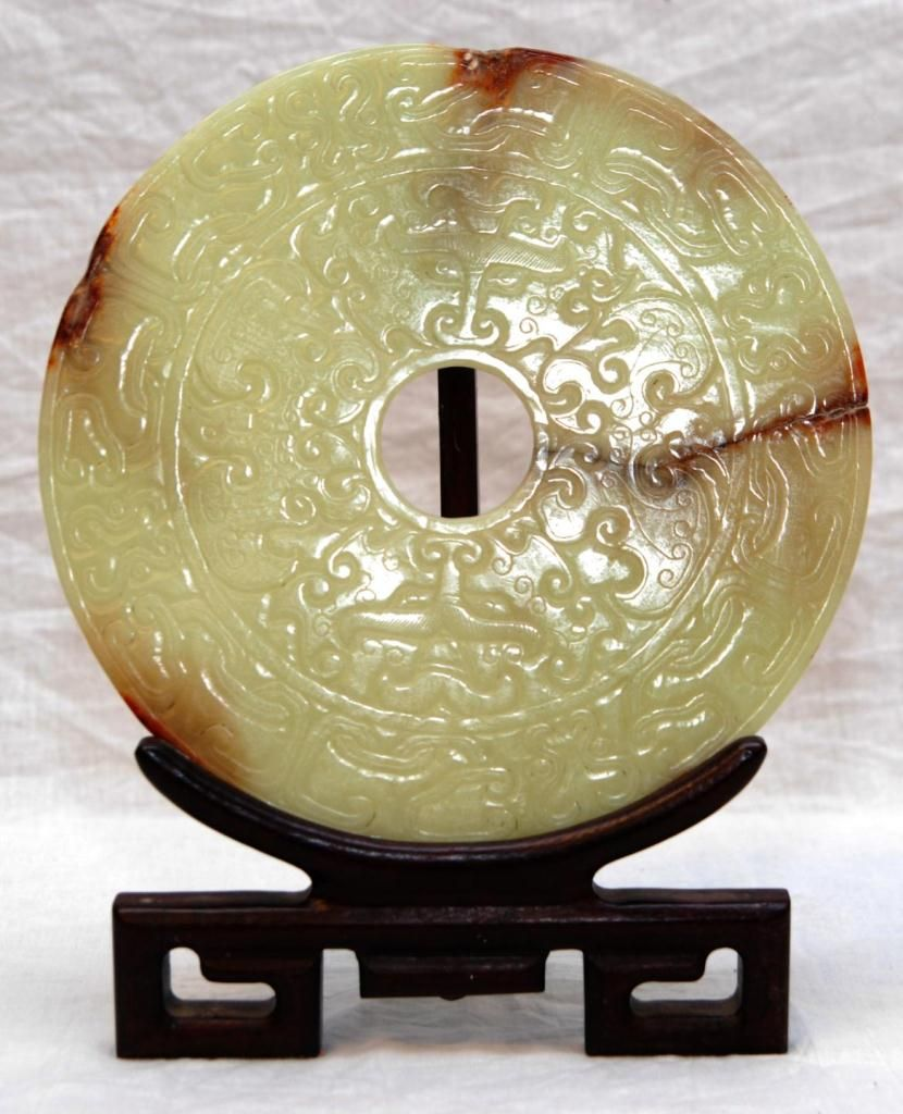 CHINESE ARCHAIC FORM JADE RELIEF BI DISC ON STAND
