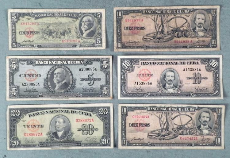 Image 1 5 Diff Old Cuban Currency 1949 1960