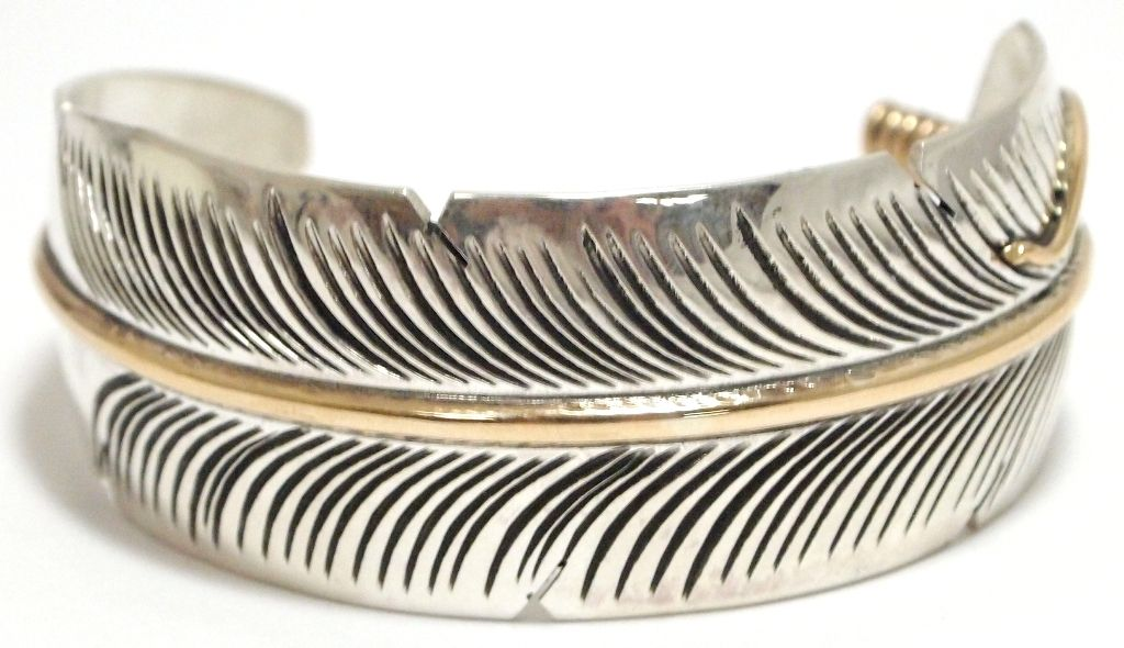 Navajo 12k Gold Fill Over Sterling Silver Feather Cuff Bracelet Chris Charley Loading Zoom