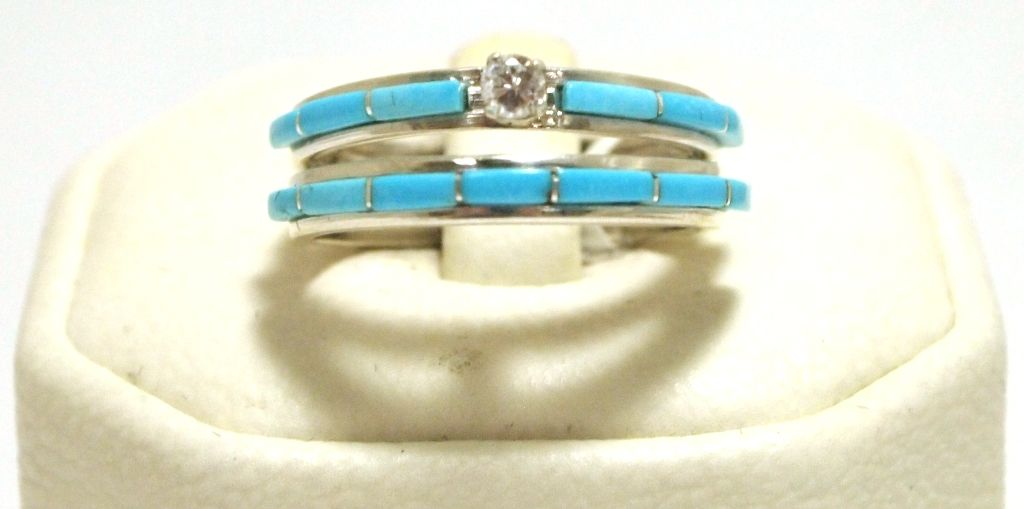 Zuni Cubic Zirconia Turquoise Sterling Silver Women S Engagement