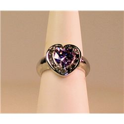 Ladies Fancy Rare 14k Violet Sapphire & Diamond  Ring