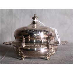 American silver plate dome covered repousse butter