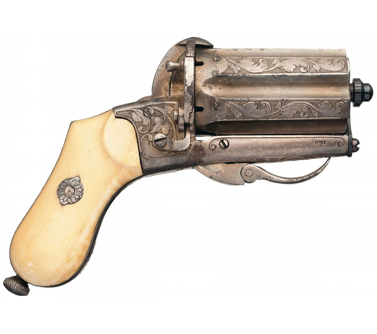 Engraved european pinfire pepperbox with ivory grips
