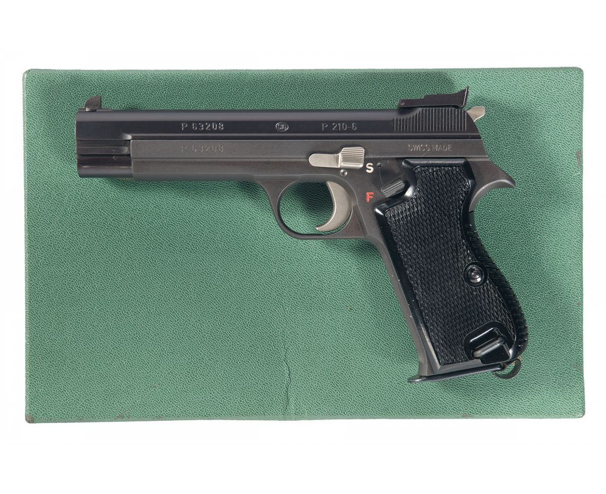 excellent sig arms model 210 6 semi automatic pistol with box