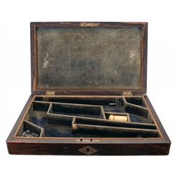 Rare Rosewood Presentation Double Case for a Pair of Colt Model 1862 Police Revolvers