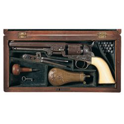 Cased Deluxe Factory Engraved Colt Model 1849 Pocket Revolver with Ivory Grip and Presentation Barre