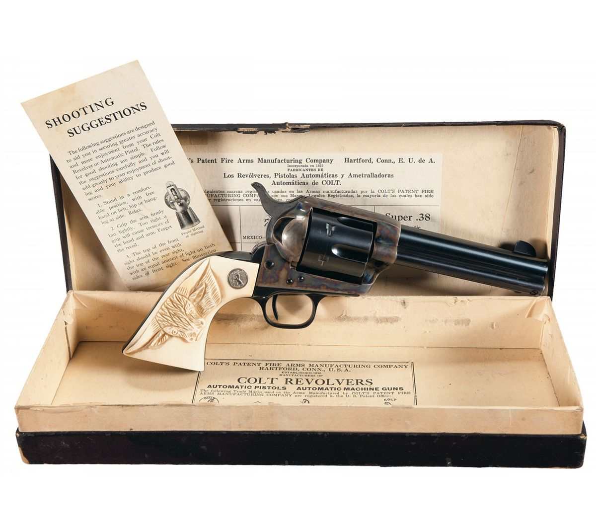 Magnificent Pre-War Colt Single Action Army Revolver with Carved ...