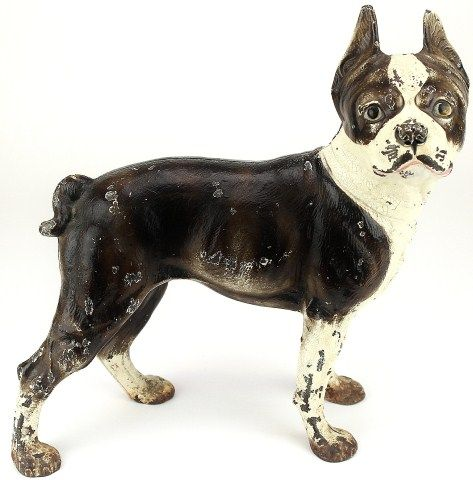 - Antique Cast Iron Bull Dog Door Stop